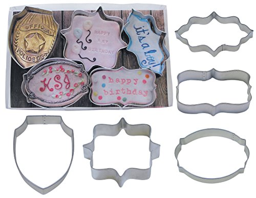 Cake Plaque - R&M International 1918 Plaques and Badges Shaped Cookie Cutters, Assorted Sizes, 5-Piece Set