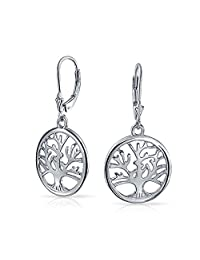 925 Silver Celtic Tree of Life Leverback Dangle Earrings