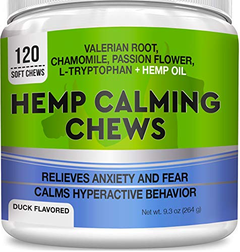 Pets Primal Calming Hemp Treats for Dogs - Made in USA w/Organic Hemp Oil - Anxiety Relief - Stress & Separation Aid in Fireworks Thunder - Aggressive Behavior Barking - 120 Chews (Best Dog Treats For Small Dogs)