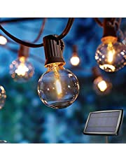 LED Solar String Lights with G40 Bulbs, Hanging Outdoor LED Globe String Light Solar Powered 4 Modes Waterproof for Indoor Bedroom Patio Garden Porch Wedding Party Christmas
