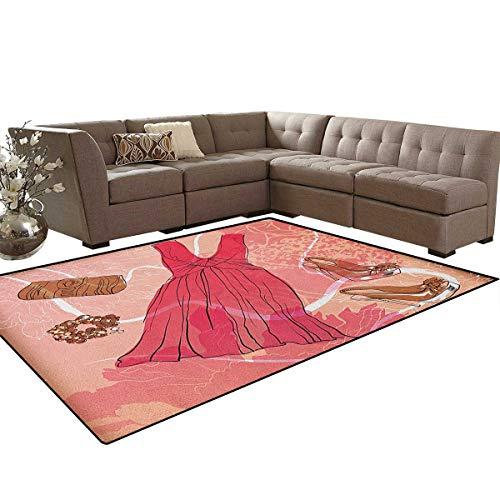 Bracelet Basketweave Design - Heels and Dresses,Carpet,Spring Inspired Floral Abstract Backdrop Pink Dress Shoes Bracelet,Indoor/Outdoor Area Rug,Pink Brown White Size:6'6