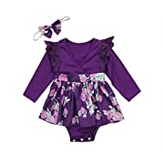 Baby Girls Long Sleeve Floral Romper Dress Toddler Boys T-Shirt Brother Sister Matching Outfits (0-6 Months, Little Sister Romper)
