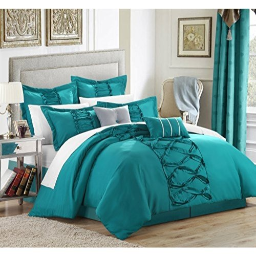 Chic Home 8 Piece Ruth Ruffled Comforter Set, Queen, Turquoise