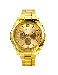 JewelryWe Men's Gold Stainless Steel Quartz Watch with Golden Dial