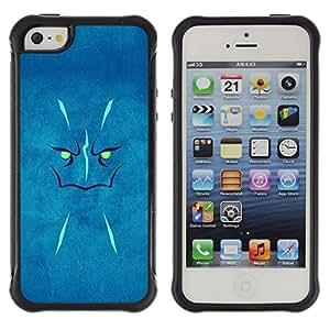 CAZZ Funda Carcasa Bumper con Absorción de Impactos y Anti-Arañazos Espalda Slim Rugged Armor // Blue Face // Apple Iphone 5 / 5S