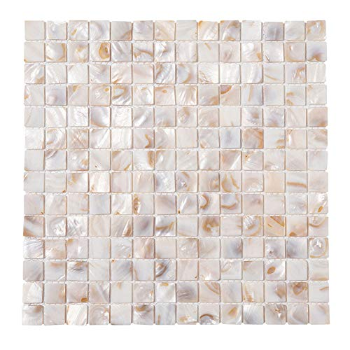 Diflart Oyster Mother of Pearl Shell Mosaic Tile 10 Sheets/Box (Square, Light Colorful Oyster)