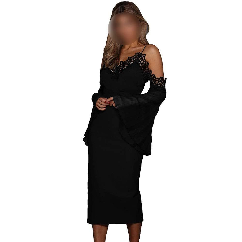 Black Carriemeow Women's Cold Shoulder VNeck Long Bell Sleeve Bodycon Dress