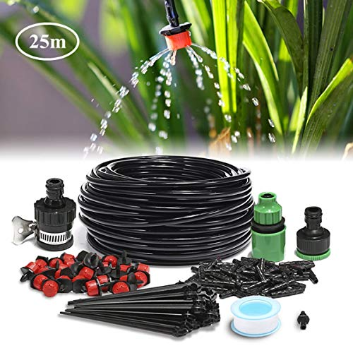 AGSIVO 82ft Micro Drip Irrigation Kit for 1/2'' and 5/8'' Faucet System Blank Distribution Tubing Irrigation Sprinkler System Kit Self Plant Garden Hose Watering Kit
