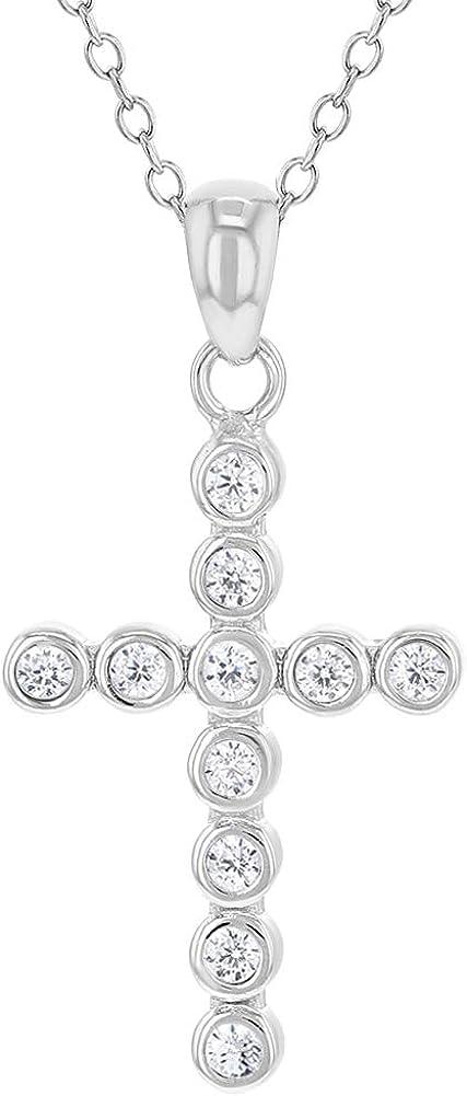 Collar con colgante de cruz de plata de ley 925 para ni/ñas y ni/ños con circonita c/úbica de 40,6 cm
