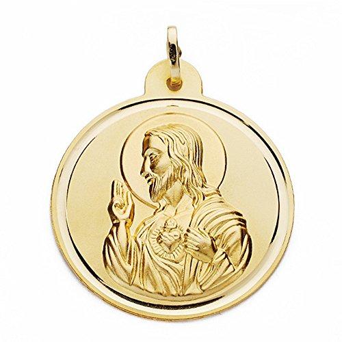 Médaille pendentif 18k 30mm en or Coeur de Jésus. lunette lisse [AA2519GR] - personnalisable - ENREGISTREMENT inclus dans le prix