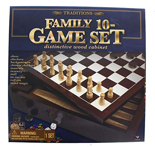 (Traditions Family 10 Wooden Cabinet Game Set )
