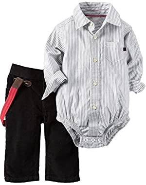 Carter's Baby Boys Button Down Bodysuit And Pants With Suspenders Set