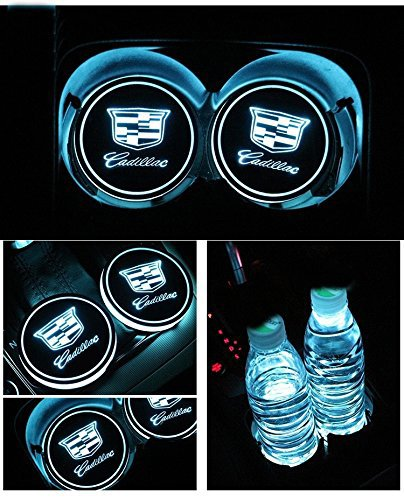 Bearfire Car Logo LED Cup Pad led cup coaster USB Charging Mat Luminescent Cup Pad LED Mat Interior Atmosphere Lamp Decoration Light (Cadillac)