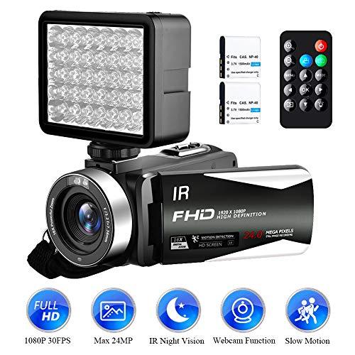 Video Camera Camcorder Full HD 1080P 30FPS 24.0MP Digital Camera Night Vision Vlogging Camera 18x Digital Zoom 3.0″IPS 270° Rotation Screen with Night Vision Fill Light Remote Control (V5IF)