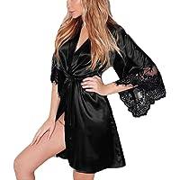 Sumen Women Silk Kimono Dressing Babydoll Lace Lingerie Belt Bath Robe Nightwear