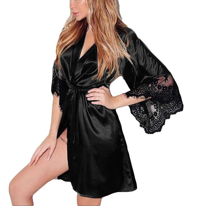47ebbcc71f9 Fitfulvan Women Sexy Silk Dressing Lace Lingerie Belt Bath Robe Nightwear(Black