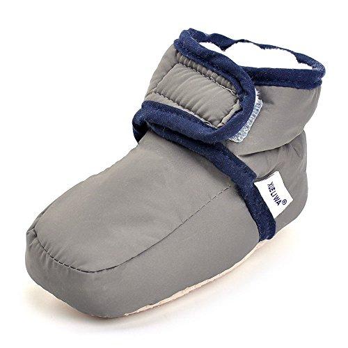 Enteer Infant Snow Boots Premium Soft Sole Anti-Slip Warm Winter Prewalker Toddler Boots (13-18months, Dark Grey)