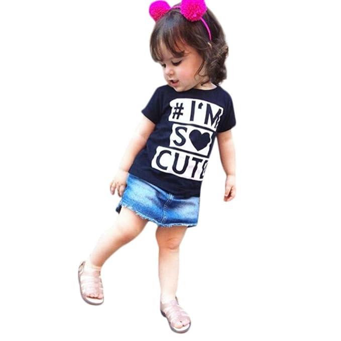 QinMM Camiseta Tops Linda para bebé Niña, Camisa de Verano de Manga Corta (Negro