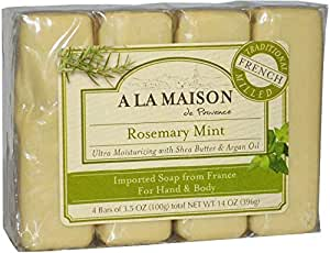 A La Maison de Provence Hand & Body Bar Soap Rosemary Mint 4 Bars 3.5 oz (100 g) Each
