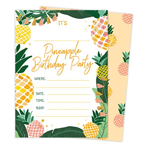 Pineapple Happy Birthday Invitations Invite Cards (25 Count) with Envelopes and Seal Stickers Vinyl Boys Girls Kids Party (25ct)