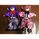Sparik Enjoy 2 Packs Clown Hand Marionette Puppet Children's Wooden Marionette Toys Colorful Marionette Puppet Doll Parent-Child Interactive Toys- Purple and Pink