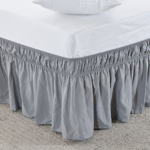 Wrap Around Style Egyptian Cotton Elastic 17 inch Drop Dust Bed Skirt for Twin/Full,Queen,King Size Beds (Grey, King)