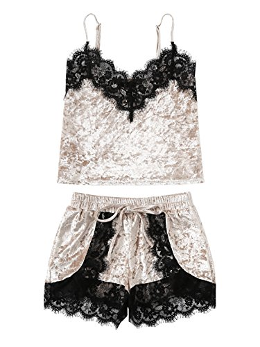 DIDK Women's Eyelash Lace Trim Velvet Cami and Shorts Pajama Set Beige M