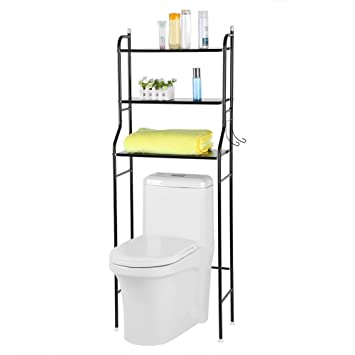 Zerone Meuble de Rangement pour Toilette, 3 Etages Etagère de Rangement en  Métal pour Salle de Bain WC Meuble Etagère Dessus WC Economie d\'Espace, ...