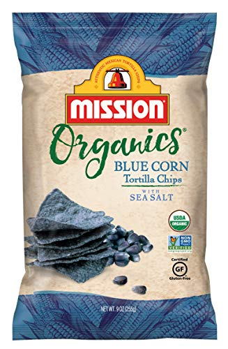 Organic Tortilla Chips - Mission Organics Blue Corn Tortilla Chips | Gluten Free, Non GMO Snacks | 9 oz