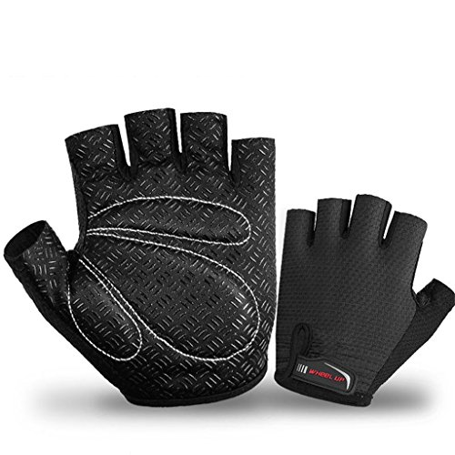 AOFJOSFHS MTB Cycling Gloves Breathable Half Finger Bicycle Glove with Anti-slip Shock-absorbing Pad for Outdoor Sports, Biking (Black, XL)