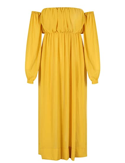 f168604c8b4 Amazon.com  Deer Lady Womens Chiffon Yellow Off Shoulder High Split Club  Long Maxi Dress  Clothing