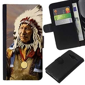 KingStore / Leather Etui en cuir / Samsung Galaxy Core Prime / Plumas indios nativos americanos del viejo hombre