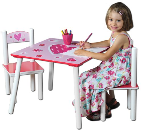 Kesper 17722 1 Kindertisch mit 2 Stühlen, Motiv: Herzen, MDF farbig lackiert, FSC