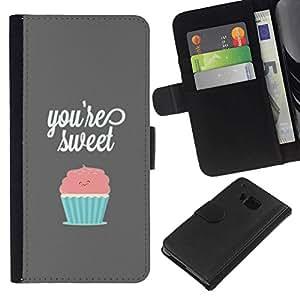 All Phone Most Case / Oferta Especial Cáscara Funda de cuero Monedero Cubierta de proteccion Caso / Wallet Case for HTC One M7 // YOU'RE SWEET PASTEL CUPCAKE
