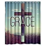 Camouflage Trees Christian Cross Grace Personalized Custom Polyester Bathroom Decor Shower Curtain 60'' X 72''
