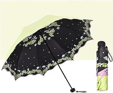 Erfhj Vrouwen Vouwparaplu Pop Vrouwelijke UV Bescherming Weerbestendig Zonnemeisje parasol Pocket Paraplu Meisje, groen