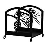 Iron Pine Cone Fireplace Firewood Rack – Black Metal