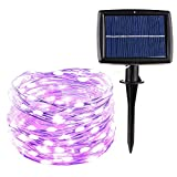 Patio Lawn Garden Best Deals - Icicle SUPER BRIGHT Solar String Lights, 26ft 120 LED Waterproof Fairy Copper Wire Starry String Lights for Christmas, Patio, Lawn, Garden, Wedding, Party and Holiday Decorations (Purple)