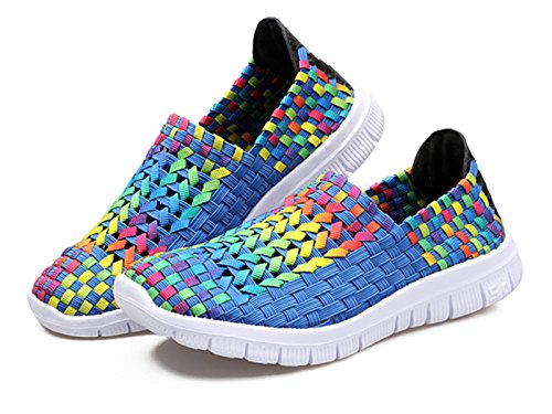 Colorblue Weave Sandal Shoes Walking 5 On Women's Elastic Light GFONE Slip 5 9 Men's Weight Flat Fitness 2 Unisex Casual Size wRqxXv61