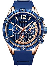 Blue Silicone Strap Quartz Watches for Men Chronograph...