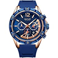 [Sponsored]MEGIR Blue Silicone Strap Quartz Watches for Men Chronograph Sports Wristwatch Man...