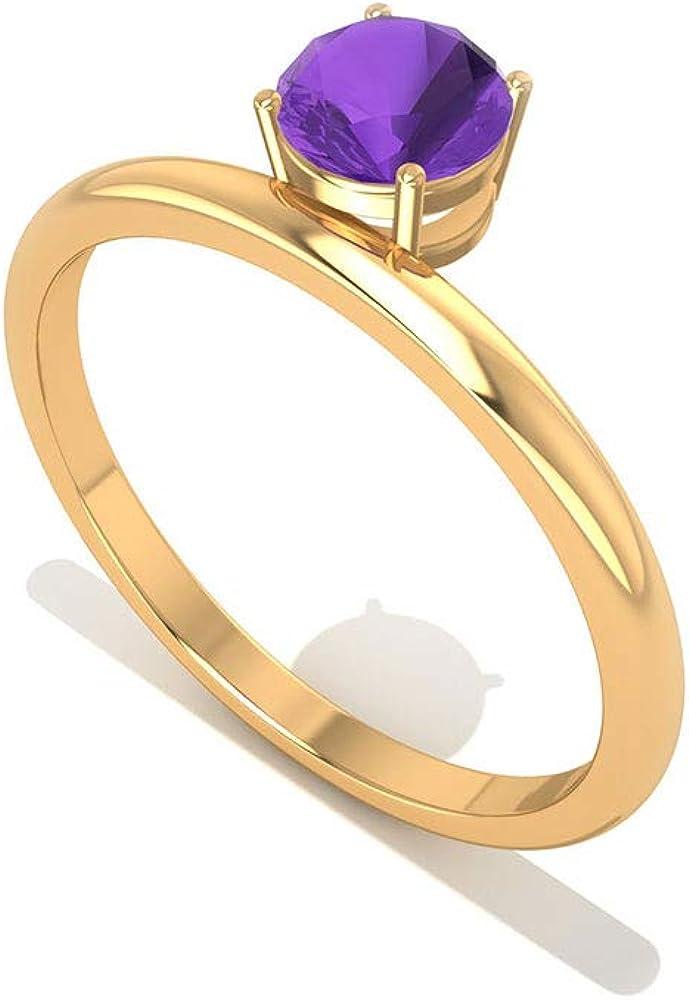 Anillo de compromiso SGL certificado de amatista AA, solitario, con piedra de nacimiento de febrero, anillo de compromiso para mujeres, anillo de compromiso de aniversario