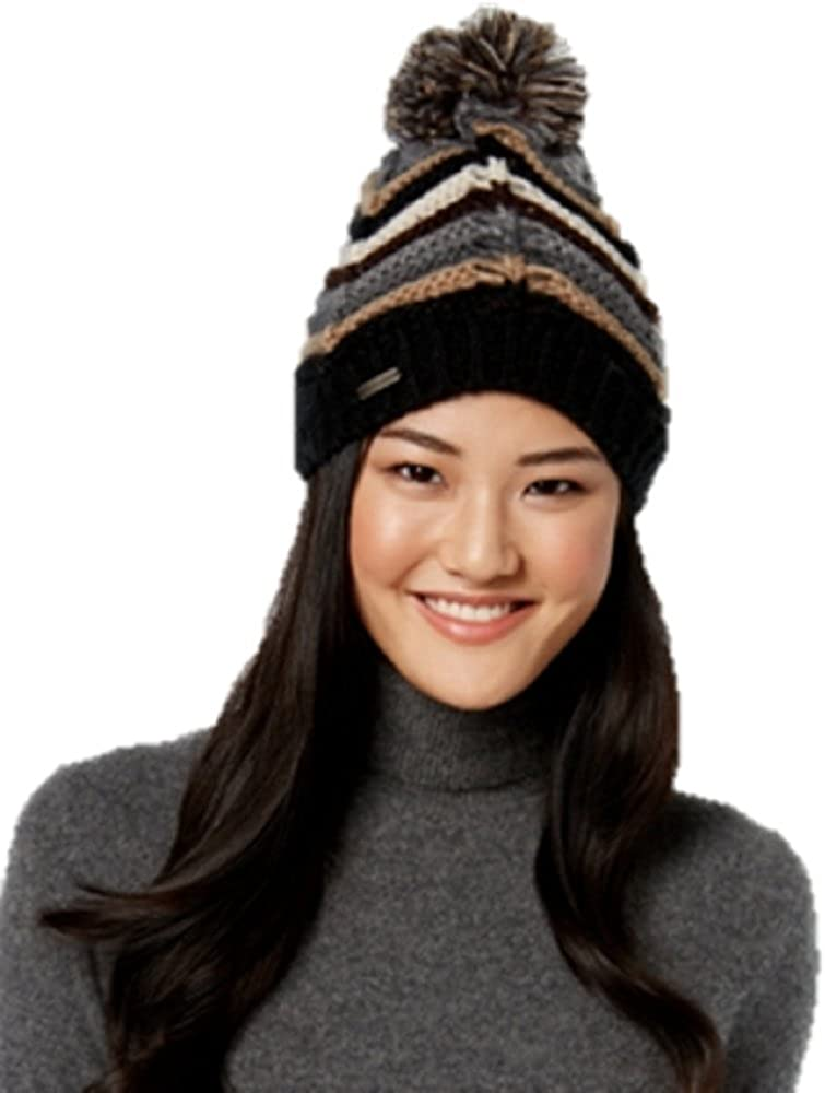 Steve Madden Boogie Knit Pom Pom Cuffed Winter Beanie Hat