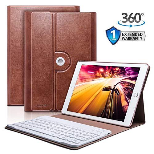 iPad 9.7 Keyboard Case for iPad 2018 (6th Gen) - iPad 2017 (5th Gen) - iPad Pro 9.7 - iPad Air 2 & 1 - Auto Sleep/Wake - 360 Rotatable - Bluetooth Pairing - iPad Case with Keyboard (Brown)