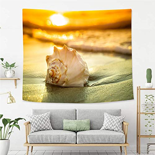 BEIVIVI Colorful Art Design Tapestry Conch Shell Sunrise and Ocean Waves Wall Art Decoration for Bedroom Living Room Dorm, Window Curtain Picnic Mat