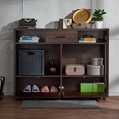 Furniture Of America Misenia Industrial Style Vintage Walnut Mobile Storage Sofa Table Business