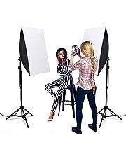 Heorryn Softbox set voor fotostudio's, 1600 W, met 2 m verstelbare standaard, 5500 K ledlamp en draagtas voor fotostudio's, portretfoto's, video-opname, verpakking van 2 stuks