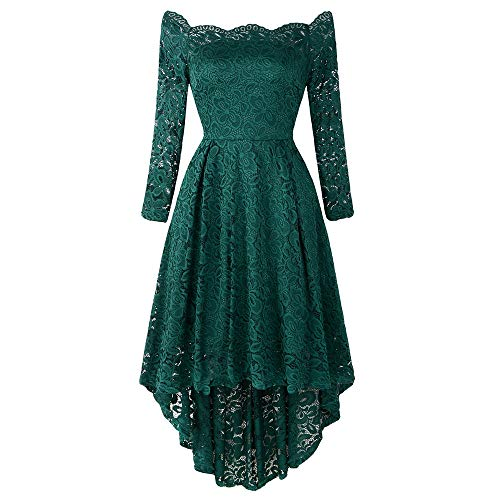 KCatsy Ladies'Dress with One Shoulder High and Low Lace Dress (Best Maid Salad Dressing)