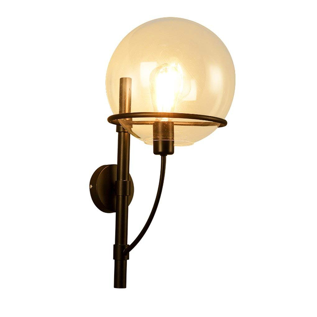 JU Antikes Loft Wandleuchte Schlafzimmer Nachttischlampe Wohnzimmer Retro Eisen Glaswand Hängeleuchten