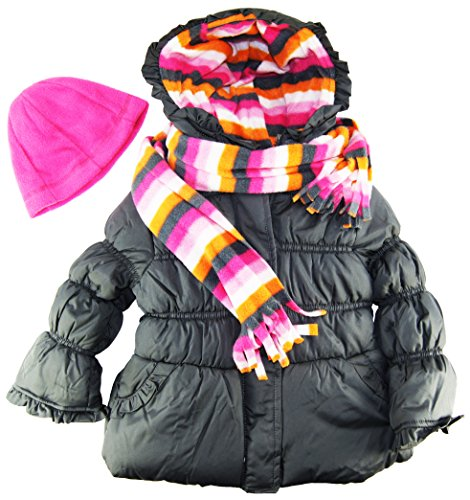 Pink Platinum Little Girls' Stripes Lining Puffer Jacket with Scarf and Hat Set, Grey, 4